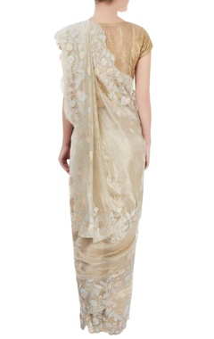 silver floral embroidered sari