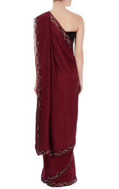 Wine border embellished sari
