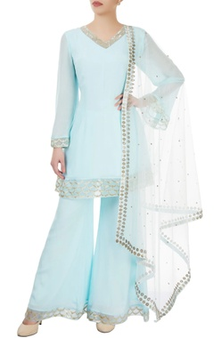 Dev R Nil Light blue embroidered palazzo set