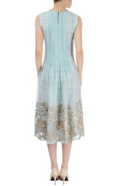 Sky blue layered embroidered midi