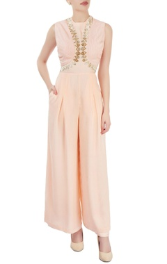 Dev R Nil Peach embroidered jumpsuit