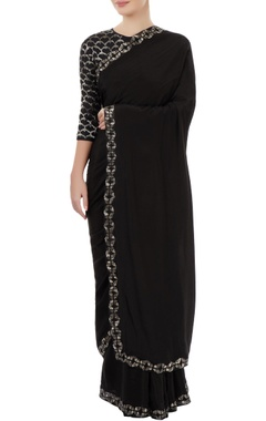 Dev R Nil Black sari with embroidery
