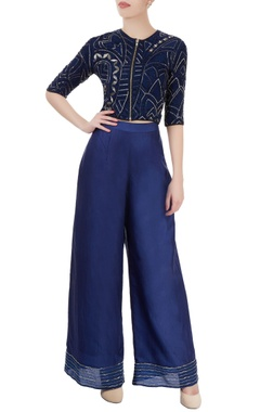 Blue embellished pant set