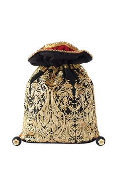 Black & gold embroidered potli