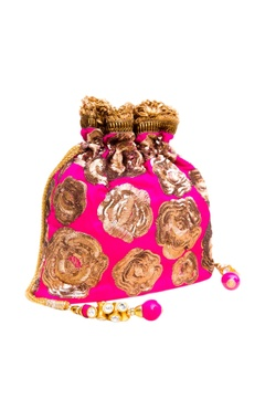 Pink embroidered potli