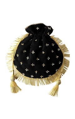 Black fringed potli