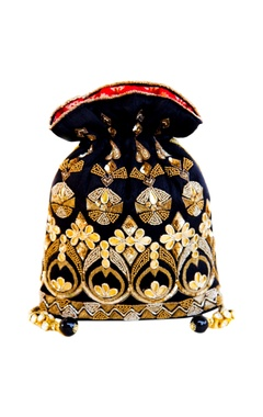 Black & gold gota embroidered potli