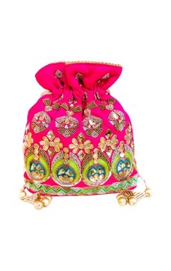 Pink potli with gota work