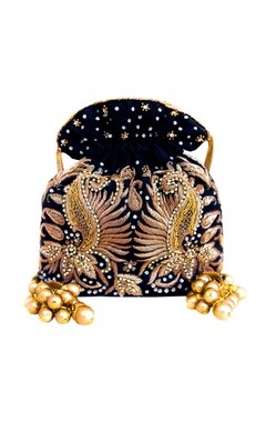 Black & gold double ambi potli