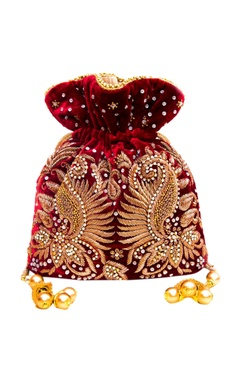 Maroon embroidered potli