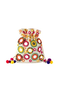 White potli with multi colored mirror work