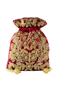 Maroon floral embroidered potli