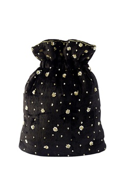 Black & gold floral embroidered potli