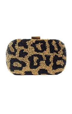 Black & gold animal beaded clutch