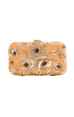 Beige clutch with gold and silver embroidery