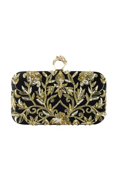 Black & gold zenia embroidered clutch