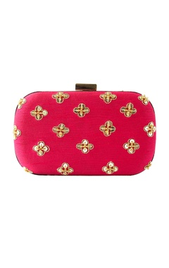 Pink zenia embroidered clutch