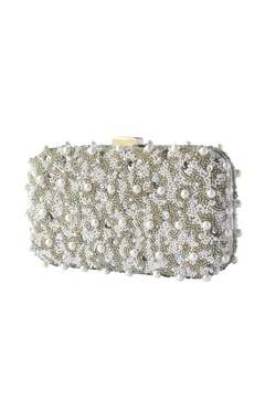 Silver & white embroidered clutch