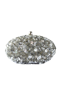 Adora by Ankita silver beaded clutch