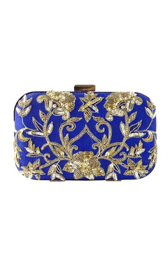 Blue clutch with gold embroidery
