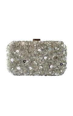 Silver rectangular embroidered clutch