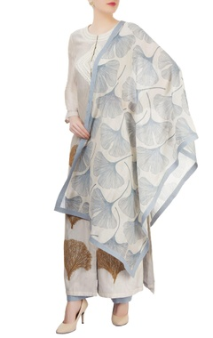 Ivory & blue printed kurta set with embroidery