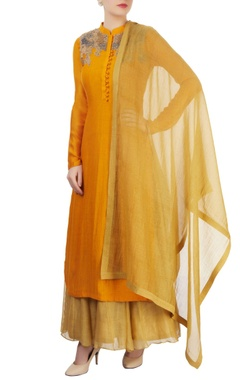Marigold anarkali set with embroidery