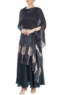 Black batik tunic with draped effect