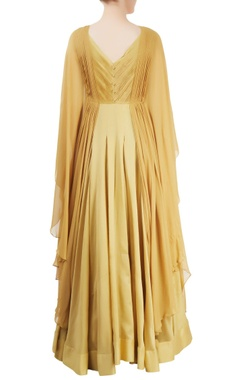Beige draped maxi dress with embroidery