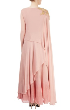 Pink asymmetrical draped maxi
