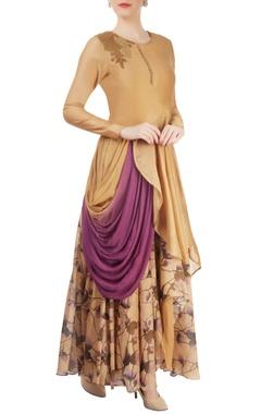 Beige layered & draped kurta set