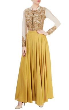 Ivory & ochre pleated pant set with embroidery