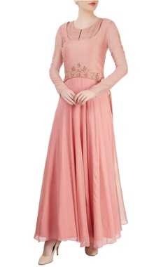 Blush pink maxi with embroidered yoke