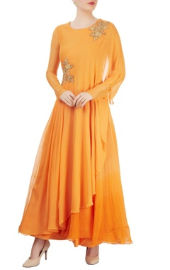 orange asymmetrical layered kurta