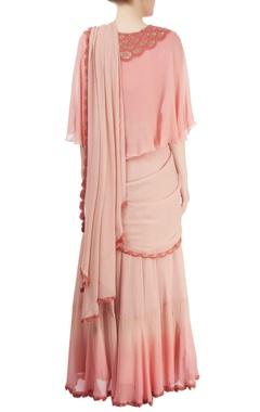 pink draped lehenga sari with cape blouse