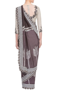 Chocolate brown & grey sari with embroidery