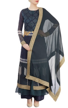 Navy blue layered kurta set