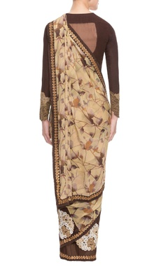 Beige & wine sari with digital print