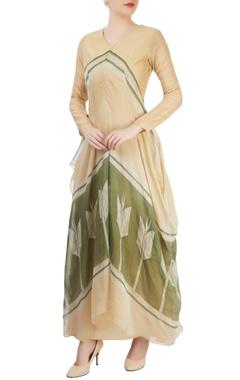 Beige asymmetrical draped kurta
