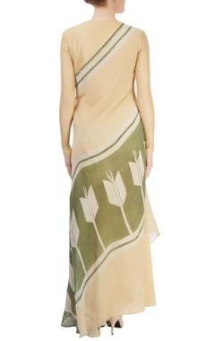 Beige asymmetrical draped kurta with pleat details