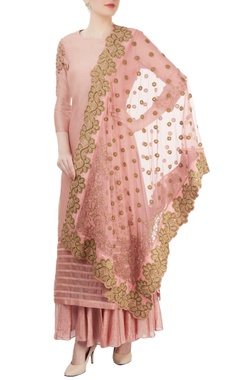 blush pink sharara set with embroidery