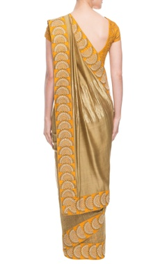 Beige & yellow sari with embroidery