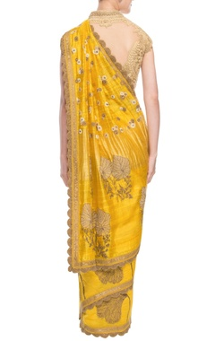 yellow & beige embroidered sari