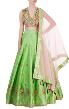 Green & rose pink embroidered lehenga set