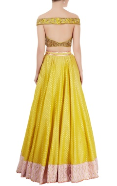 Yellow & rose pink embroidered lehenga set