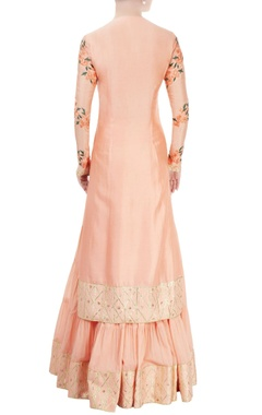 Peach embroidered sharara set