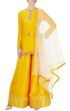 yellow & white embroidered kurta set