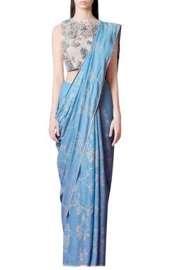 powder blue printed sari