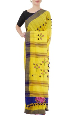 yellow handwoven sari