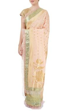 aqua green & peach embellished sari
